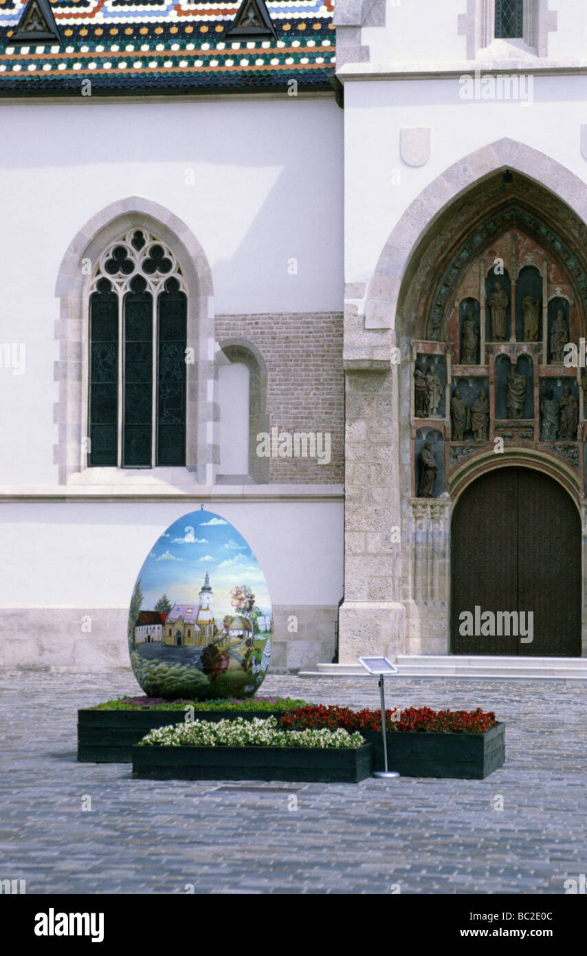 Eastern egss statue, Saint Marko church, Upper Town, Zagreb, Croatia - Stock Image