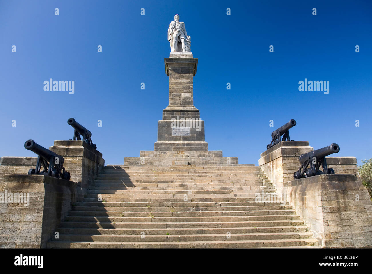 The memorial to Admiral Lord Collingwood, one of the heroes of the Battle of Trafalgar in October 1805. Stock Photo