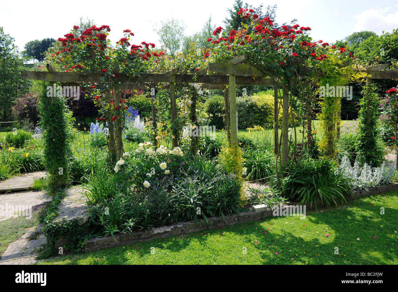 English Garden With Roses On A Pergola, In Somerset   Stock Image
