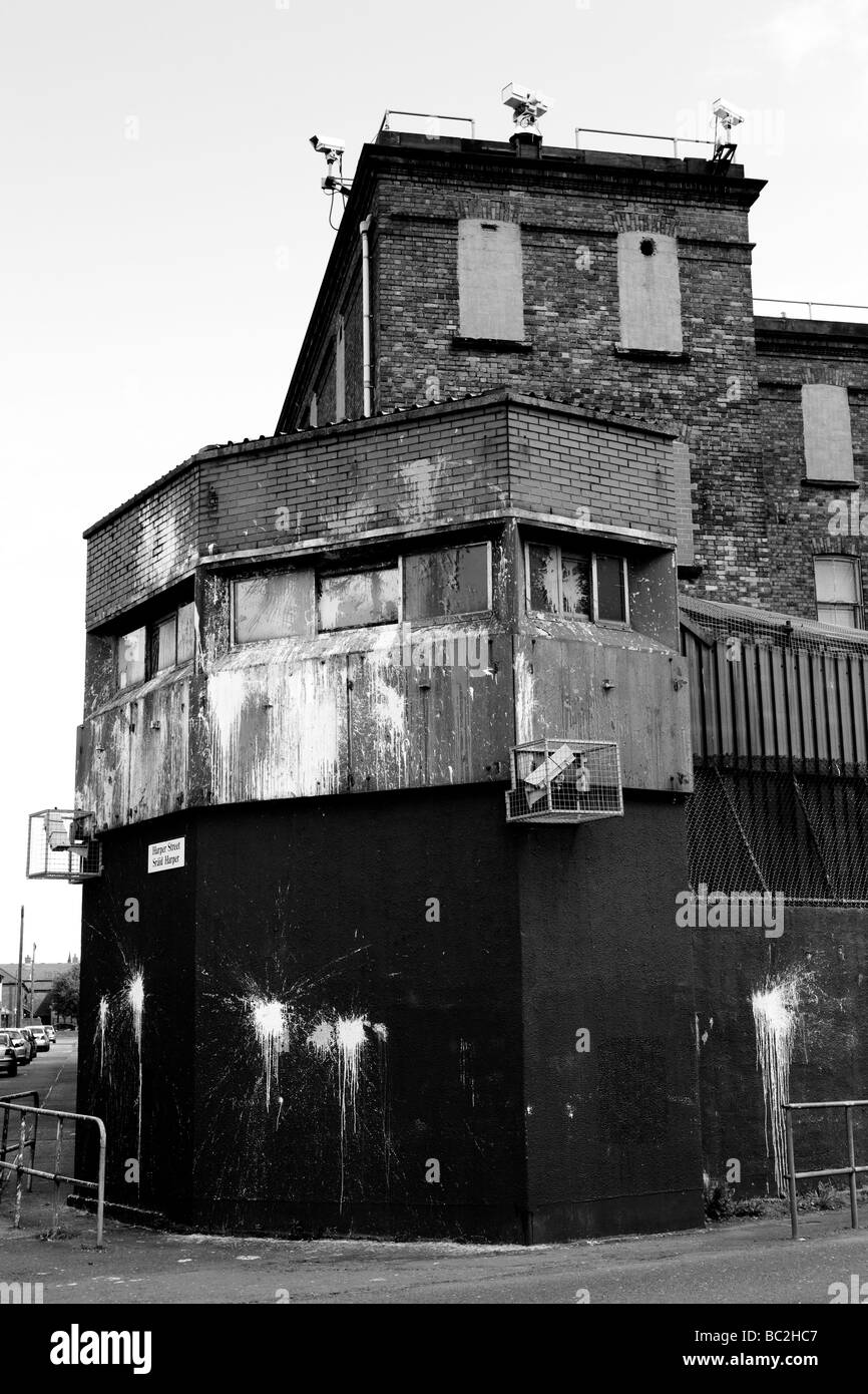 Fortified Army and RUC Station in East Belfast Northern Ireland, United Kingdom, UK, GB - Stock Image
