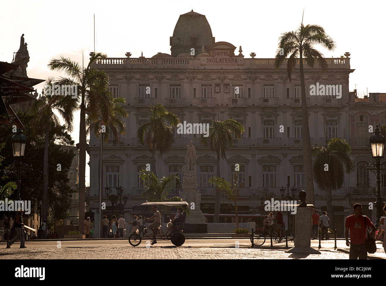 The long established Hotel Inglaterra, once the most opulent hotel in Havana. Early morning. Habana, Cuba - Stock Image