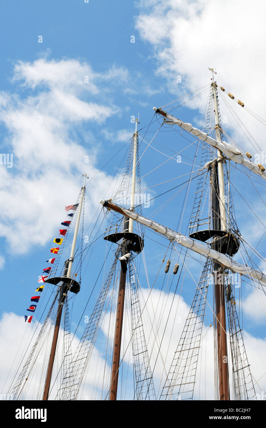 Three upper masts of a tallship - Stock Image