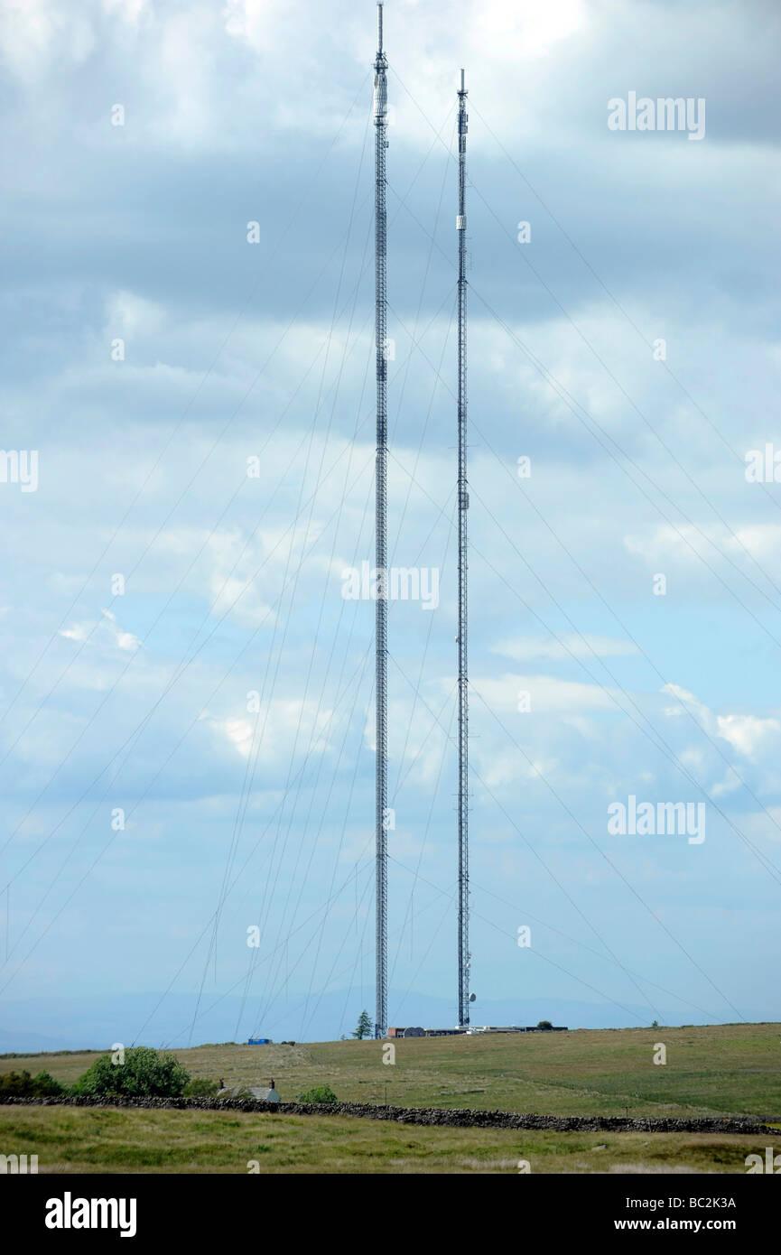 Digital Television transmitter masts Brocklebank near Caldbeck - Stock Image