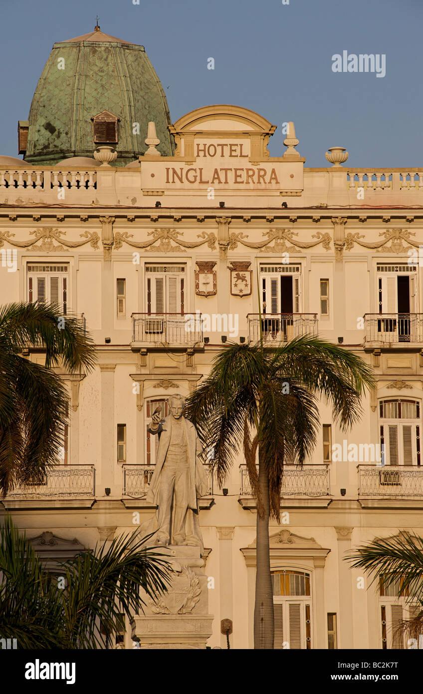 Statue of Jose Marti in front of the Hotel Inglaterra, Havana, Cuba - Stock Image