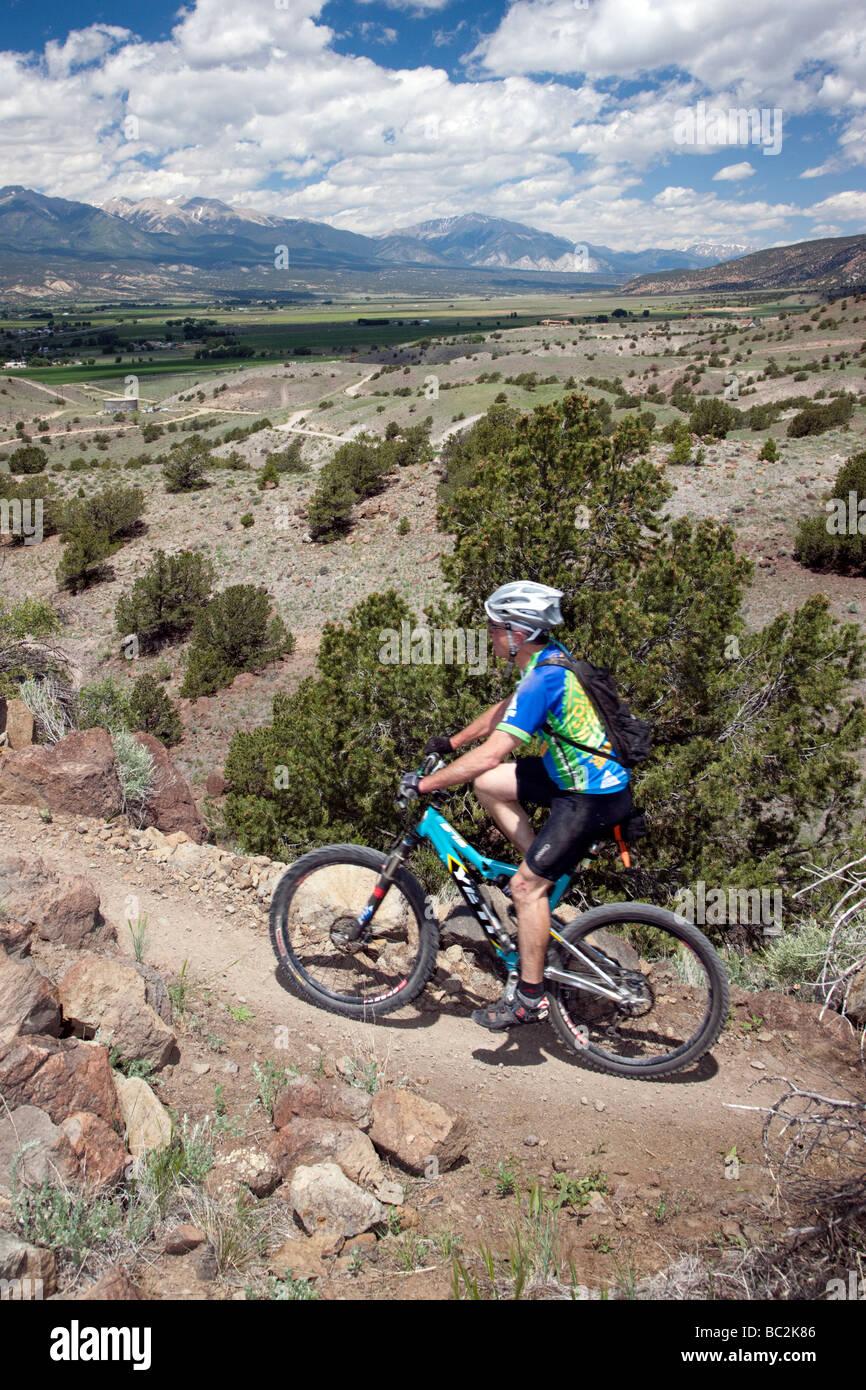 Cyclist competing in the Fibark Mountain Bike race on Tenderfoot Mountain Salida Colorado USA - Stock Image