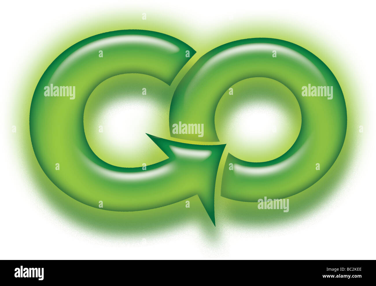 Icon for Go Green Pro Environmental and political issues Neon arrow in forward motion - Stock Image