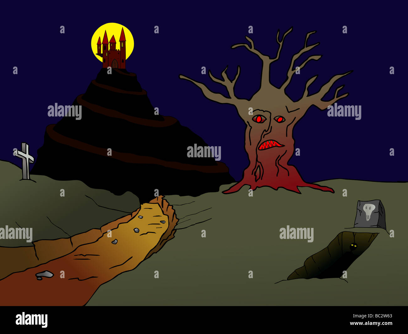 Illustration of the old haunted castle on the hill and incubus rising from the grove - Stock Image