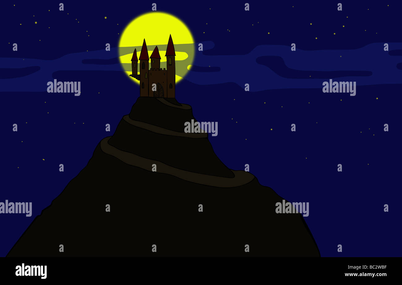 Illustration of the old haunted castle on the hill - Stock Image