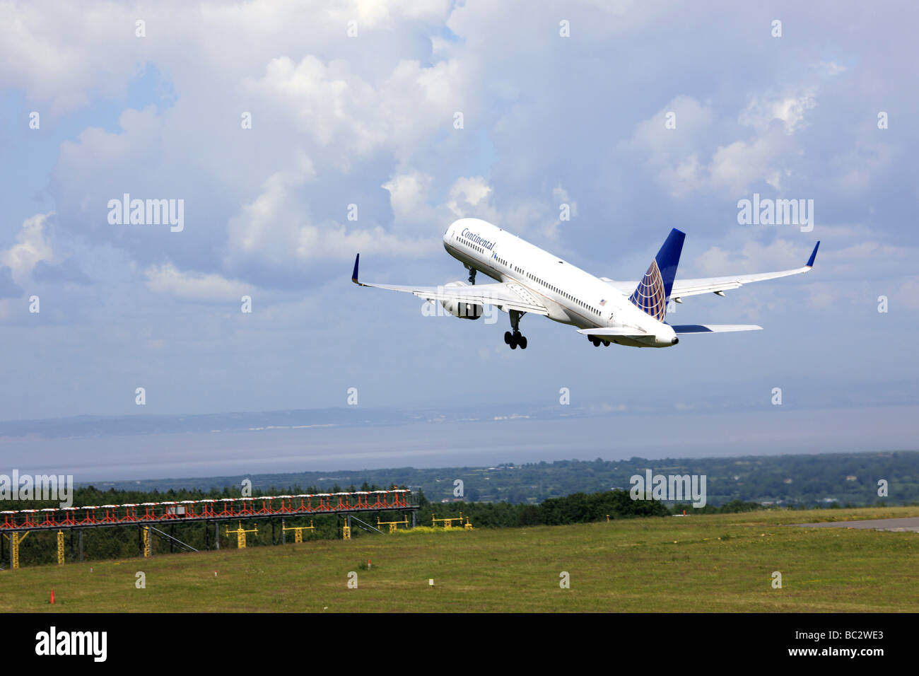Continental Airlines Boeing 777 departs Bristol UK for New York - Stock Image
