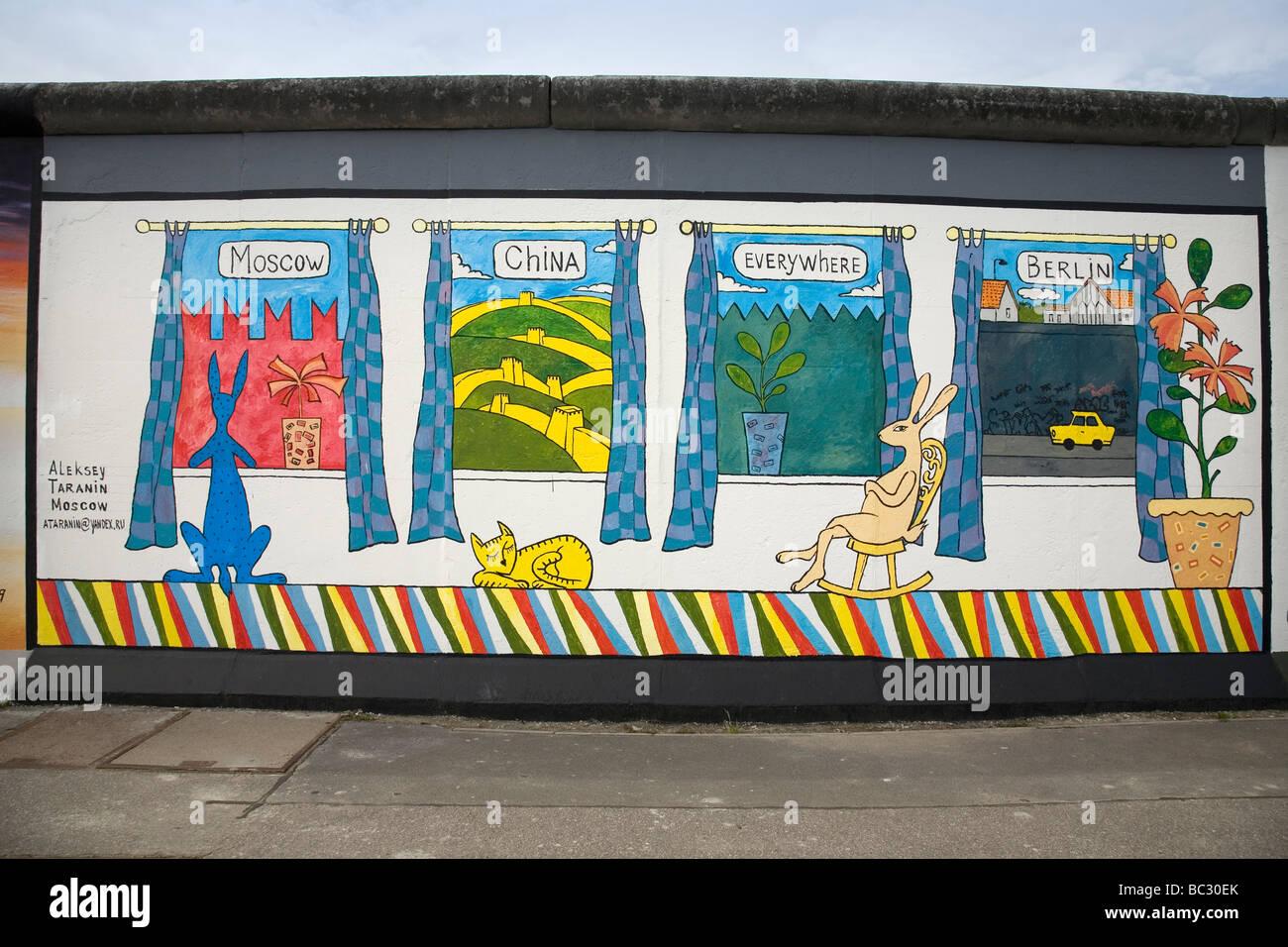 Berlin Wall, East Side Gallery, Berlin, Germany - Stock Image
