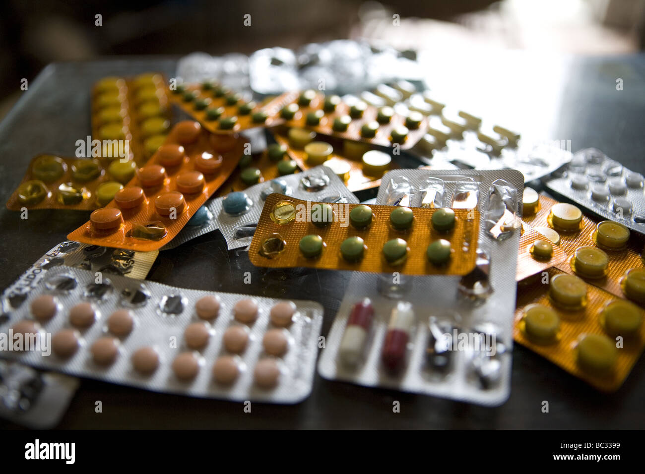 Pharmaceutical drugs at a home in Havana. - Stock Image