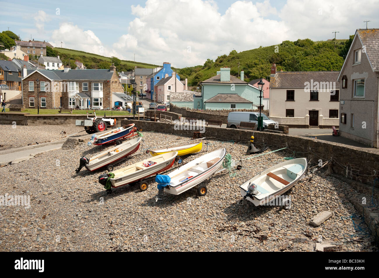 boats on the beach on a summer afternoon Little Haven Pembrokeshire Coast National Park south west wales UK - Stock Image
