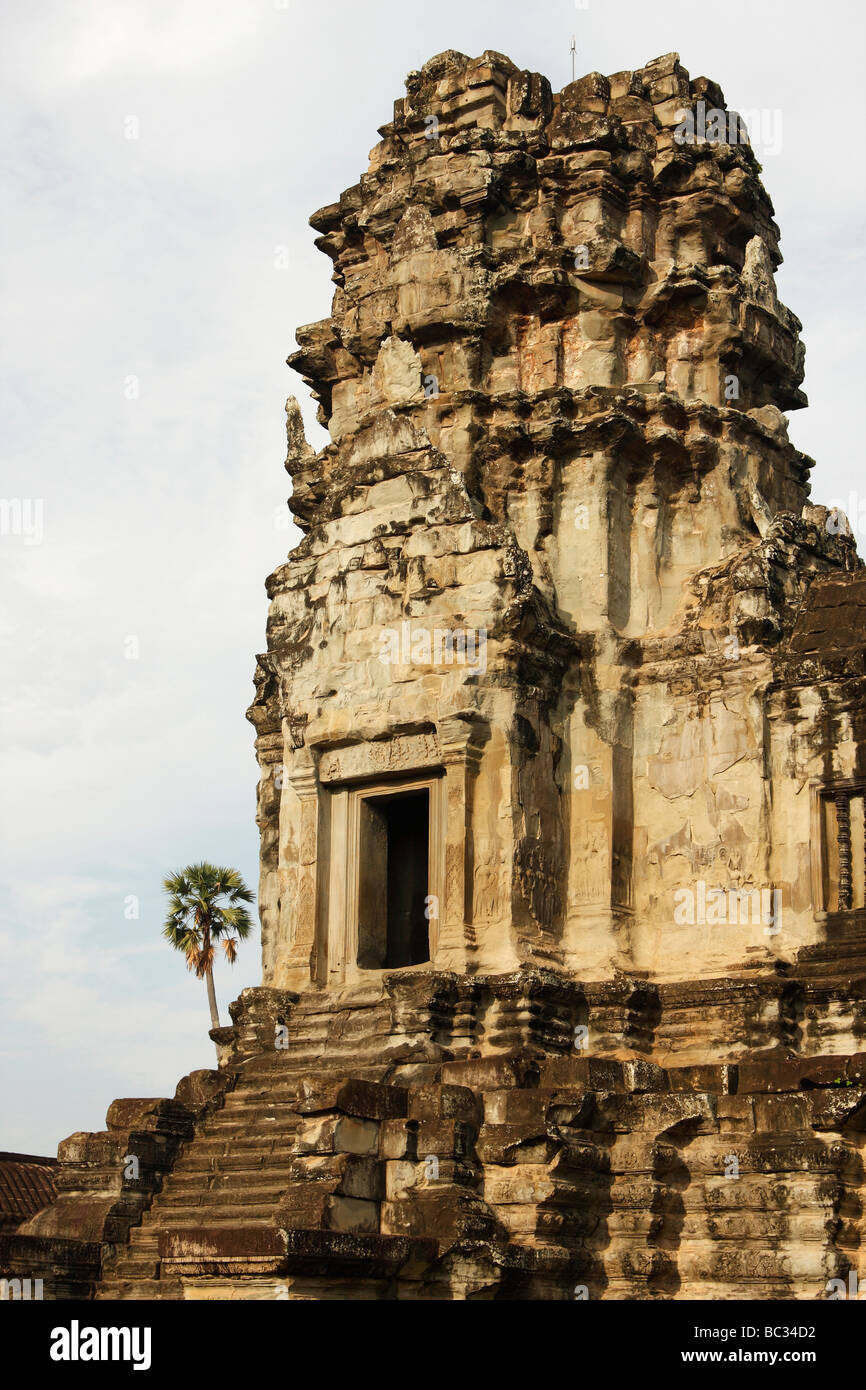 Oriental stone tower, [Angkor Wat] temple ruins, Cambodia, [Southeast Asia] - Stock Image