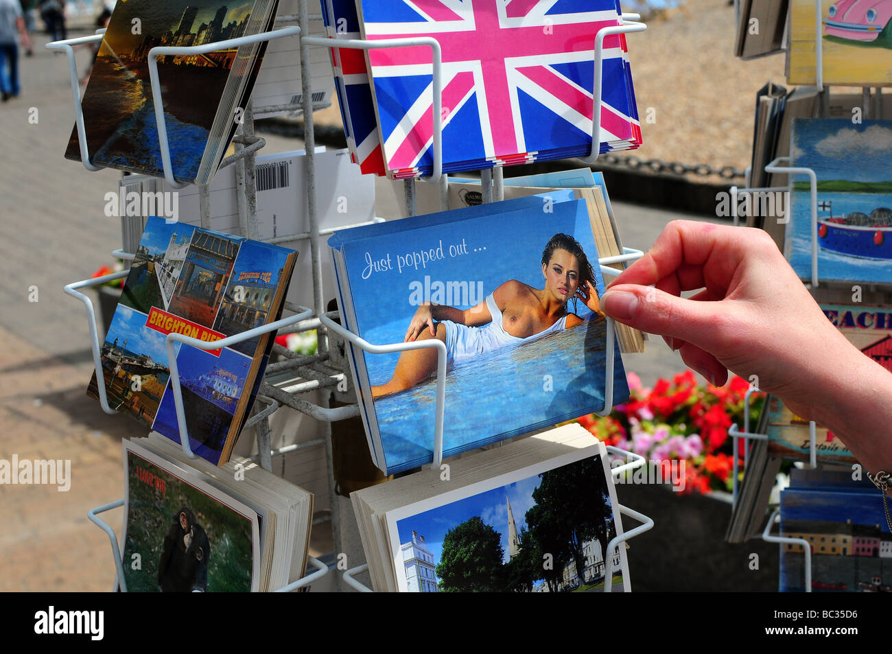 Postcards for sale, Brighton, UK - Stock Image