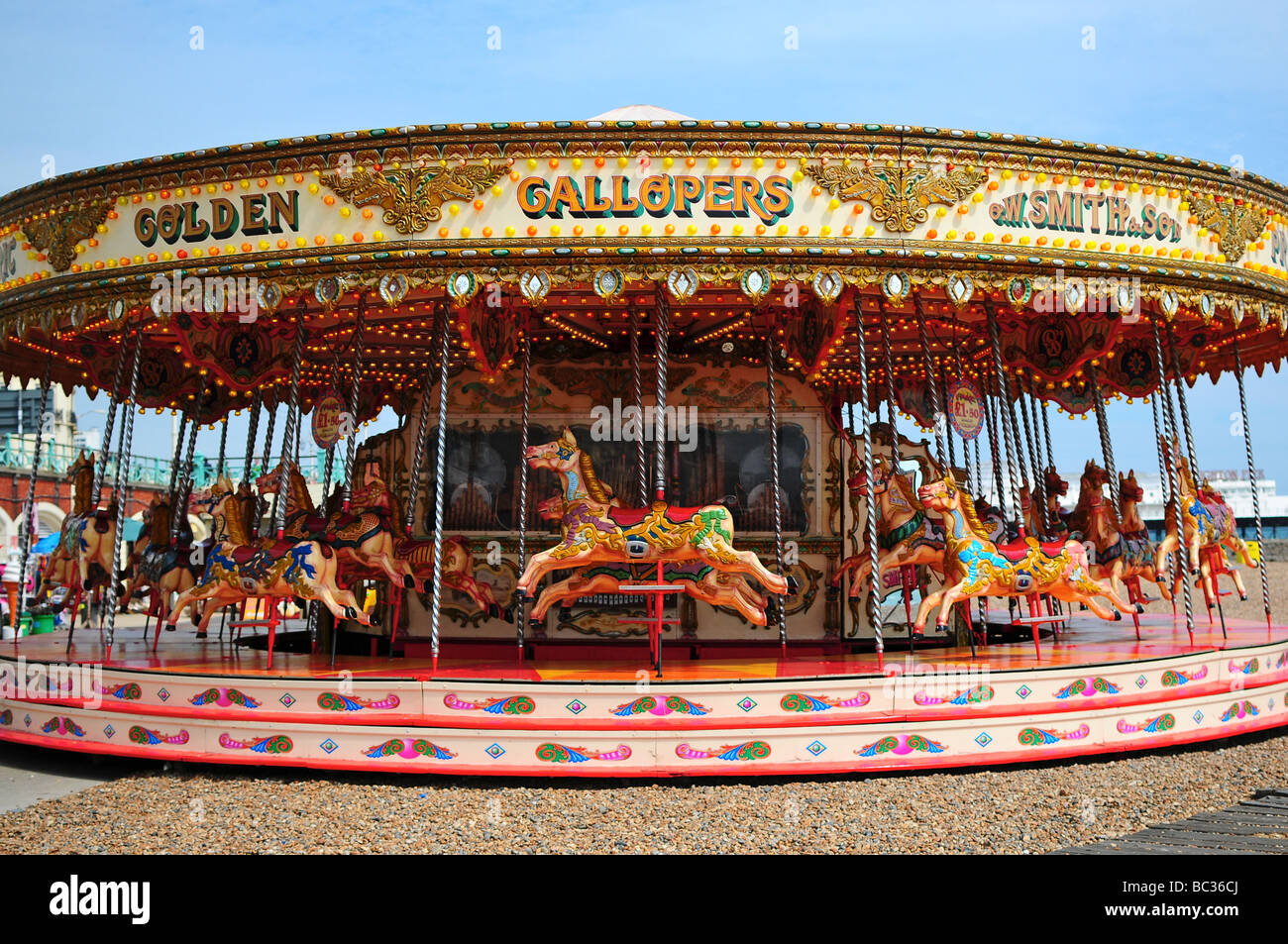 Carousel on Brighton beach, Brighton, England - Stock Image