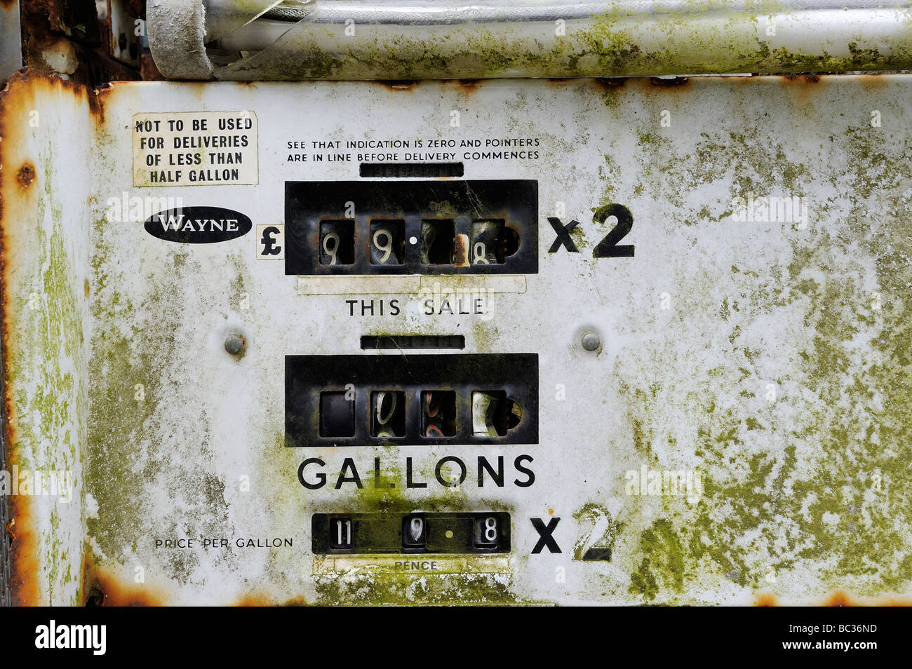 Close up detail of a disused petrol pump - Stock Image