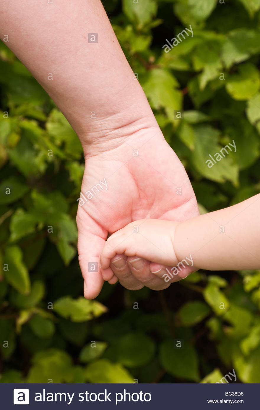 Mother and child holding hands - Stock Image