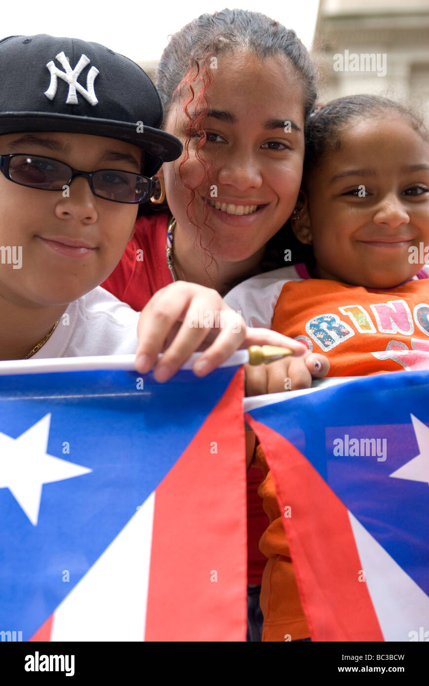 Annual Puerto Rican Day Parade.  5th Avenue, Manhattan, New York City. A colorful and exciting celebration. - Stock Image