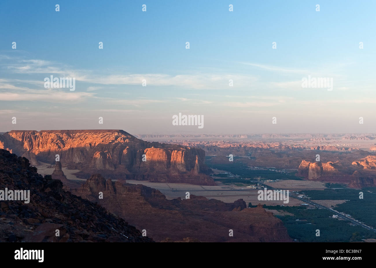 Suset on Madain Saleh valley - Stock Image