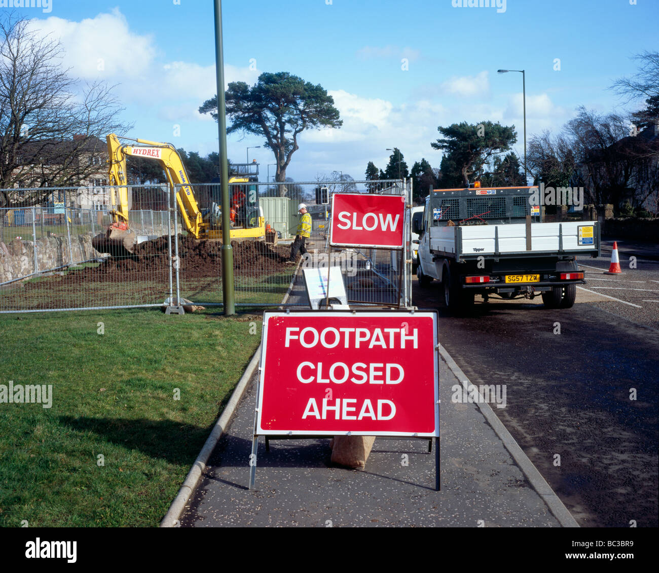 roadworks with pavement blocked for pedestrians - Stock Image