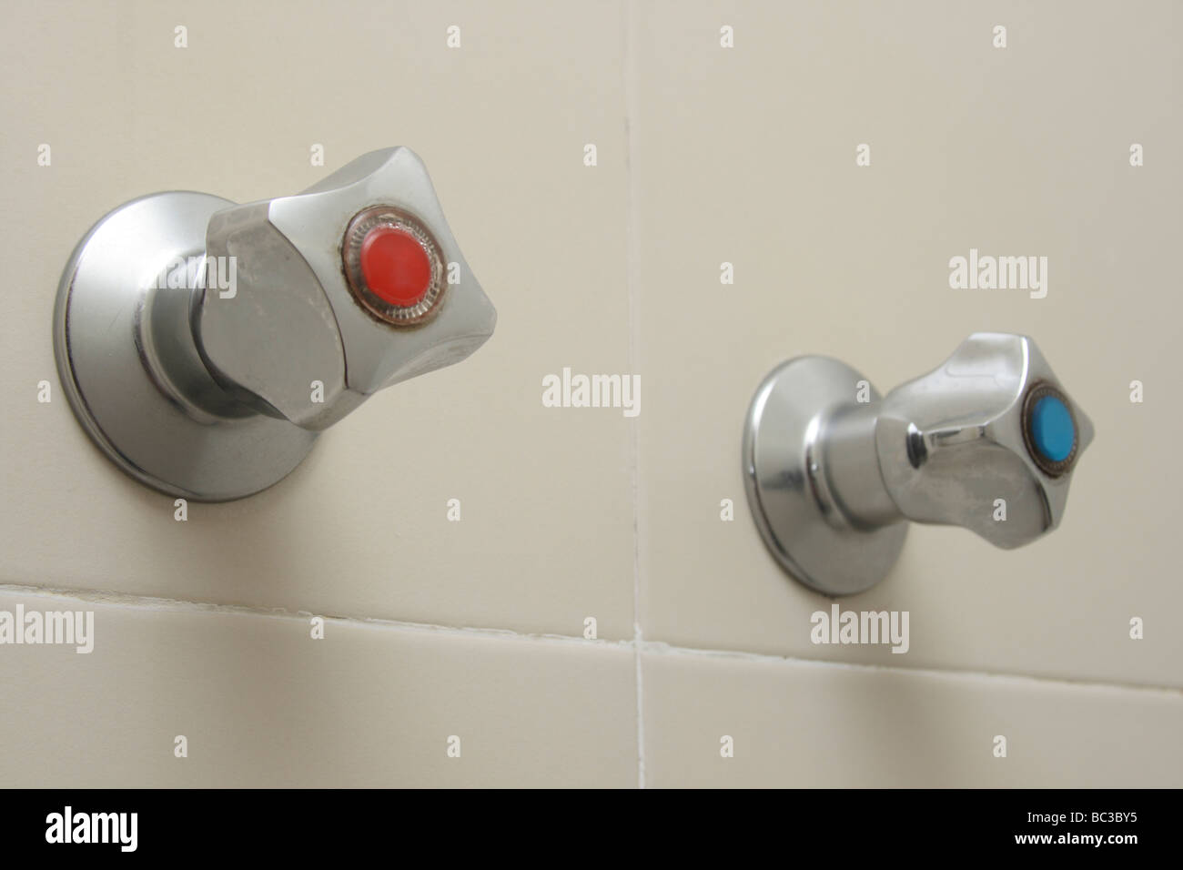 water tap hot and cold - Stock Image