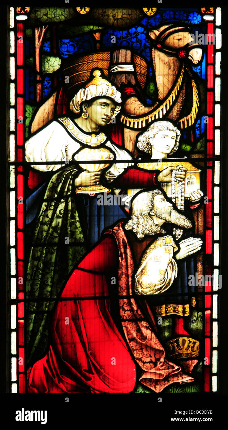 Stained Glass Window Depicting Nativity Scene Cropredy Church of St Mary the Virgin Warwickshire - Stock Image