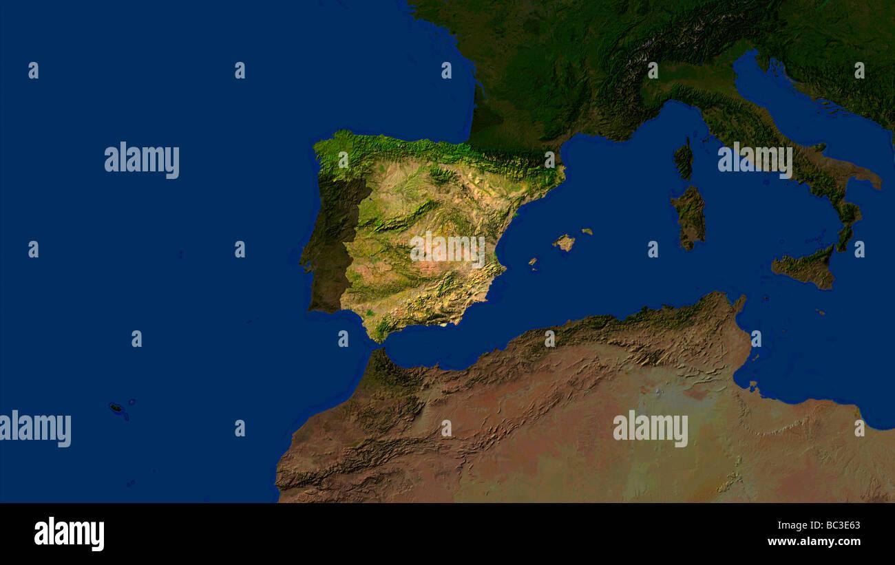 satellite image of spain with surrounding countries darkened ...
