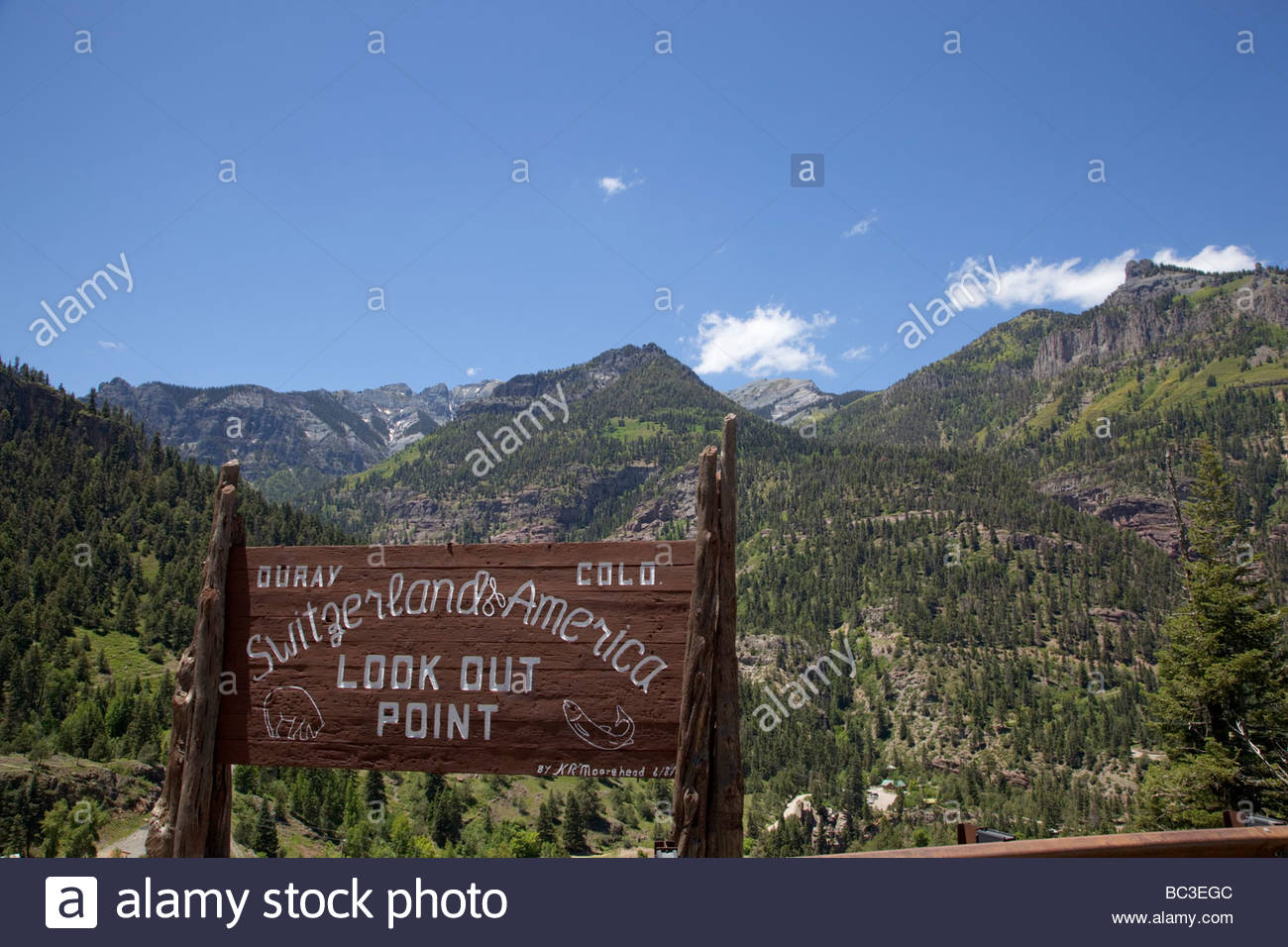 Ouray Colorado Look Out Point Sign - Stock Image
