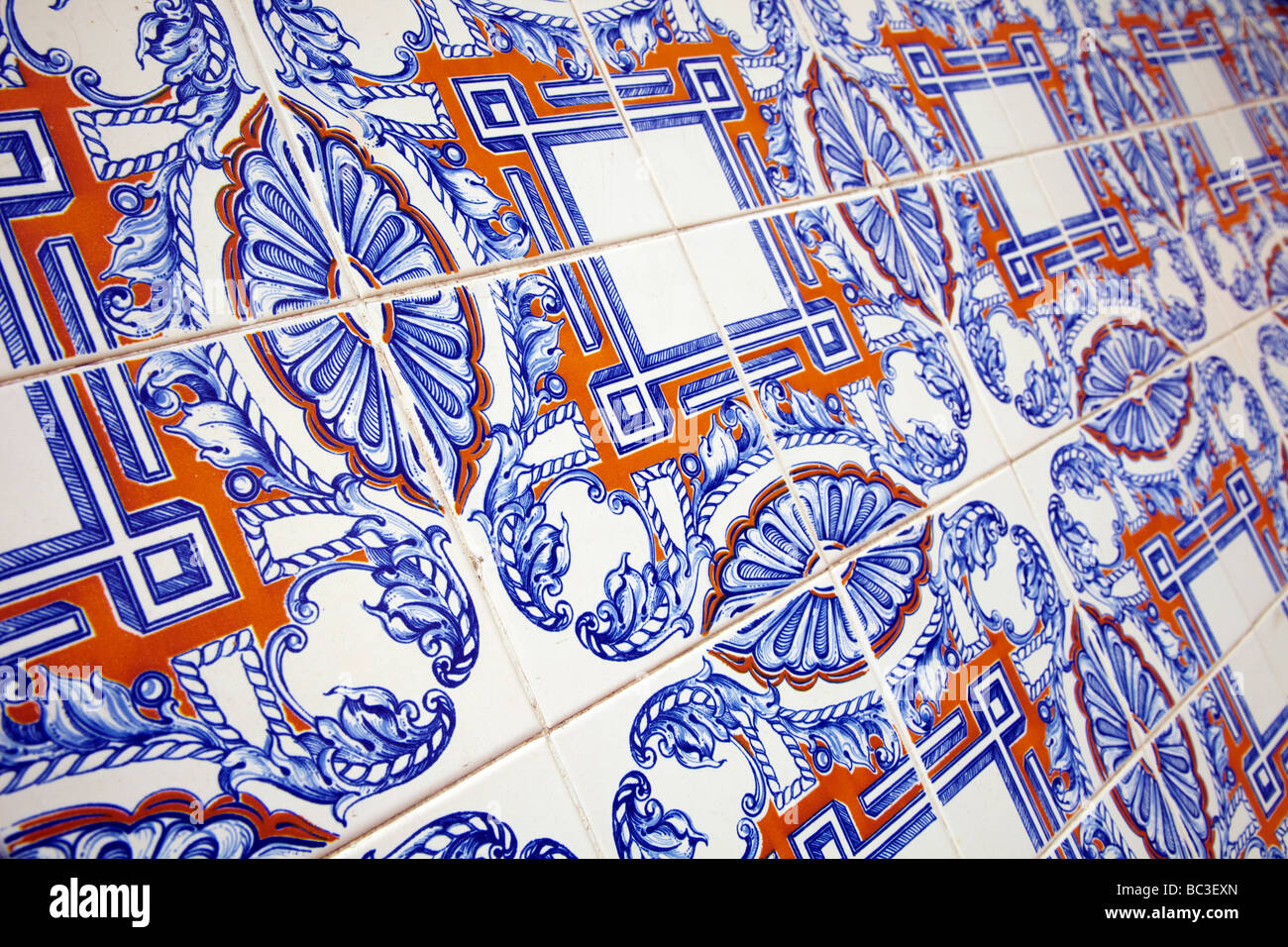 colored wall tiles, Lisbon, Portugal - Stock Image