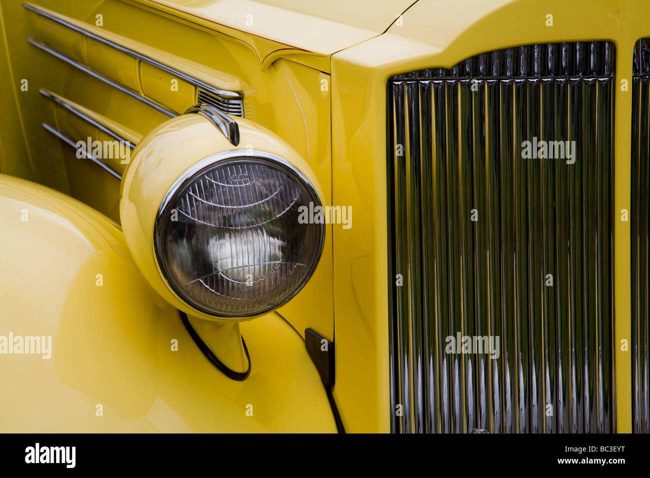 Detail of headlight and Front Grill of a 1935 Packard 1207 Convertible Sedan