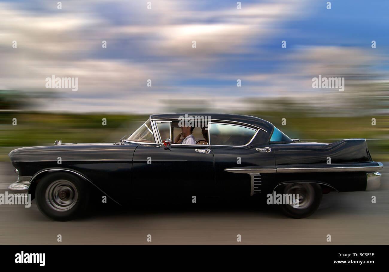 Classic American car. A cultural icon for modern day Cuba. Autopiste, Cuba Stock Photo