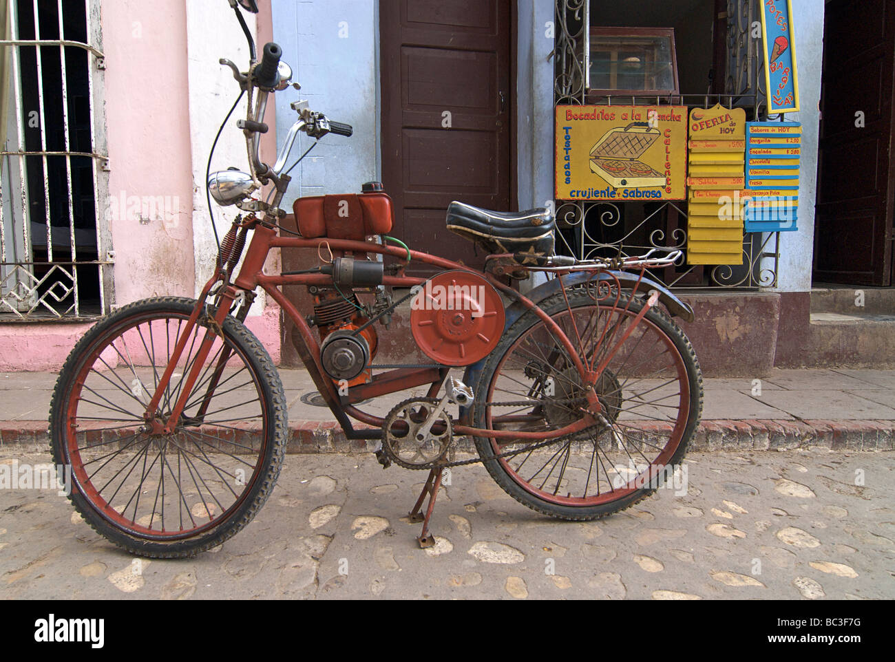 Motorised Bicycle Trinidad Cuba Stock Photo 24664068