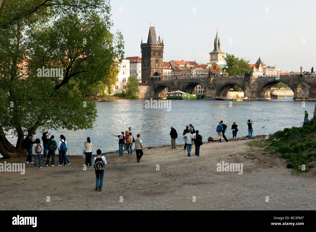 Prague Karlsbrücke Malá Strana Moldau czech - Stock Image