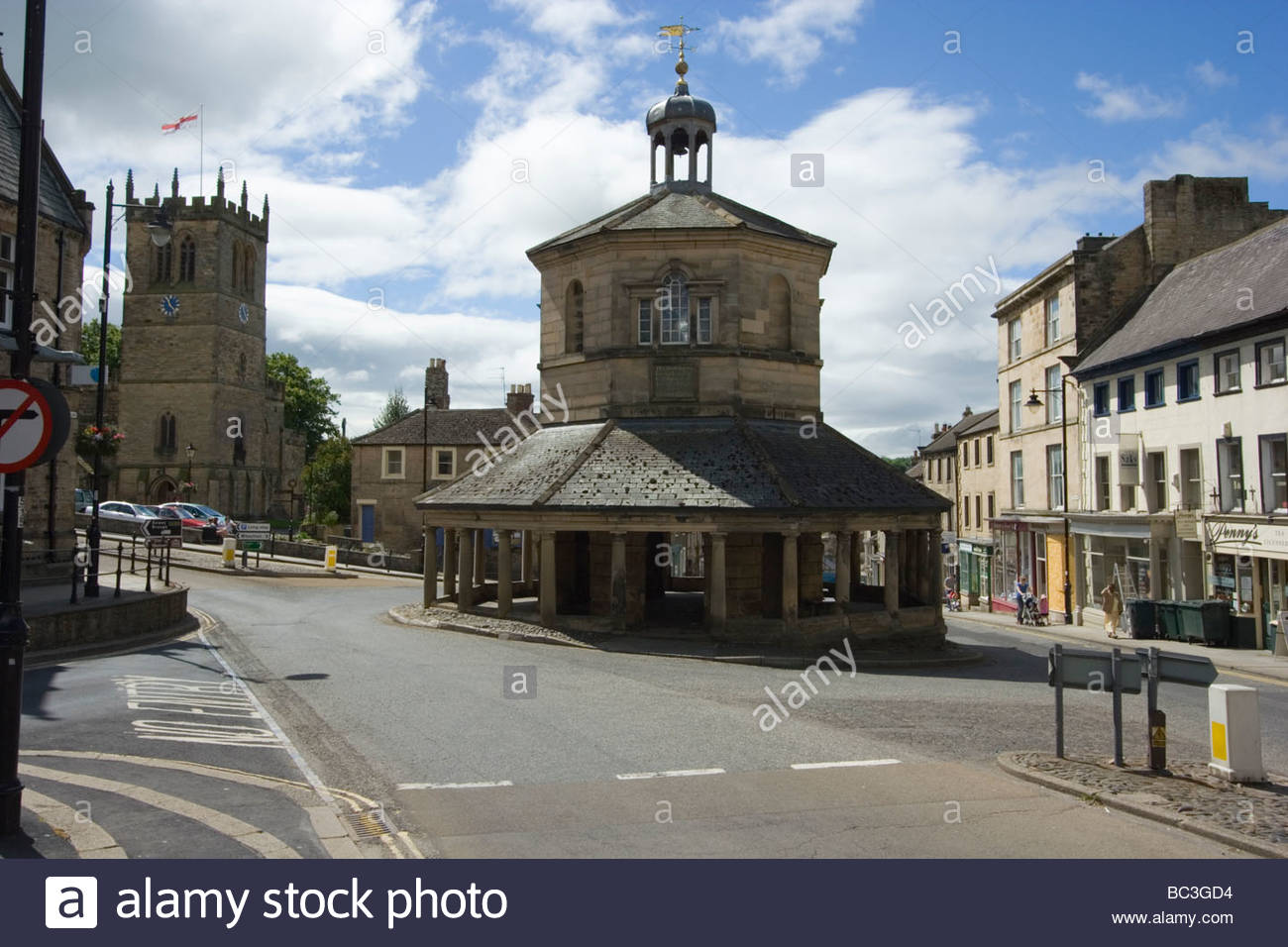 Old Market Cross in Barnard Castle in County Durham England - Stock Image