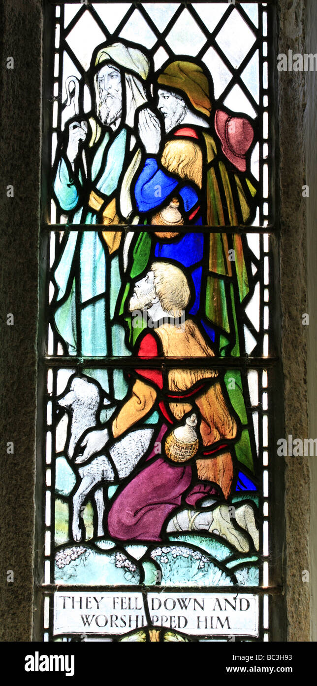 Stained glass window depicting the Adoration of the Shepherds, Mawnan Smith Church Cornwall England - Stock Image