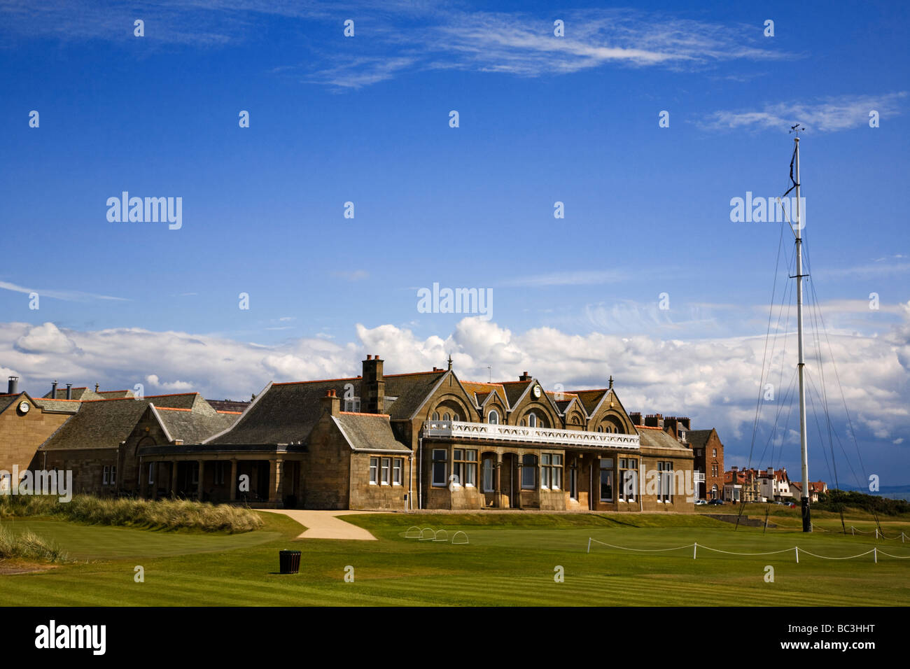 Royal Troon golf course and clubhouse, South Ayrshire, Scotland. - Stock Image