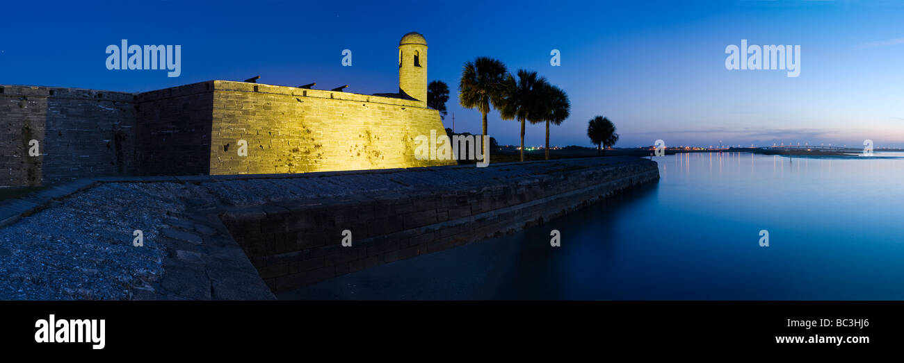 Castillo de San Marcos before dawn overlooking Matanzas Bay, St. Augustine, Florida - Stock Image