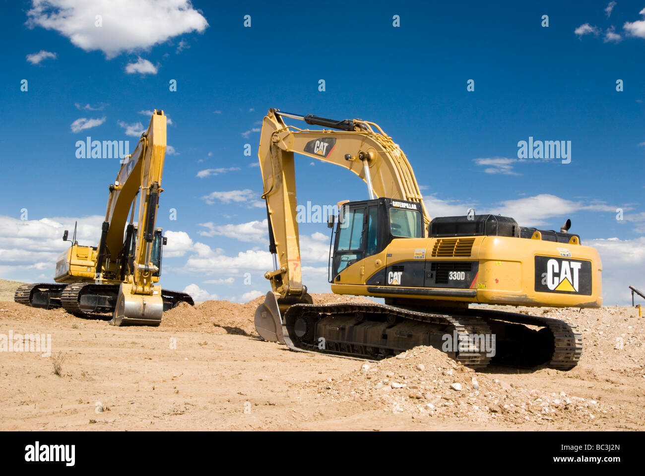 excavators in an oilfield in Wyoming Stock Photo