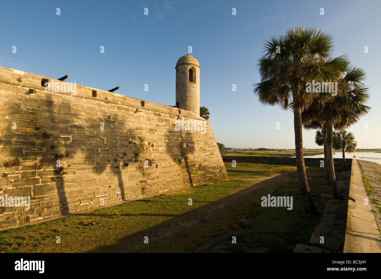 Castillo de San Marcos at dawn overlooking Matanzas Bay, St. Augustine, Florida - Stock Image