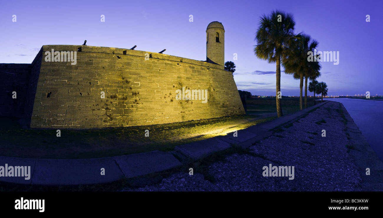 Castillo de San Marcos before dawn overlooking Matanzas Bay, St. Augustine, Florida - Stock Image