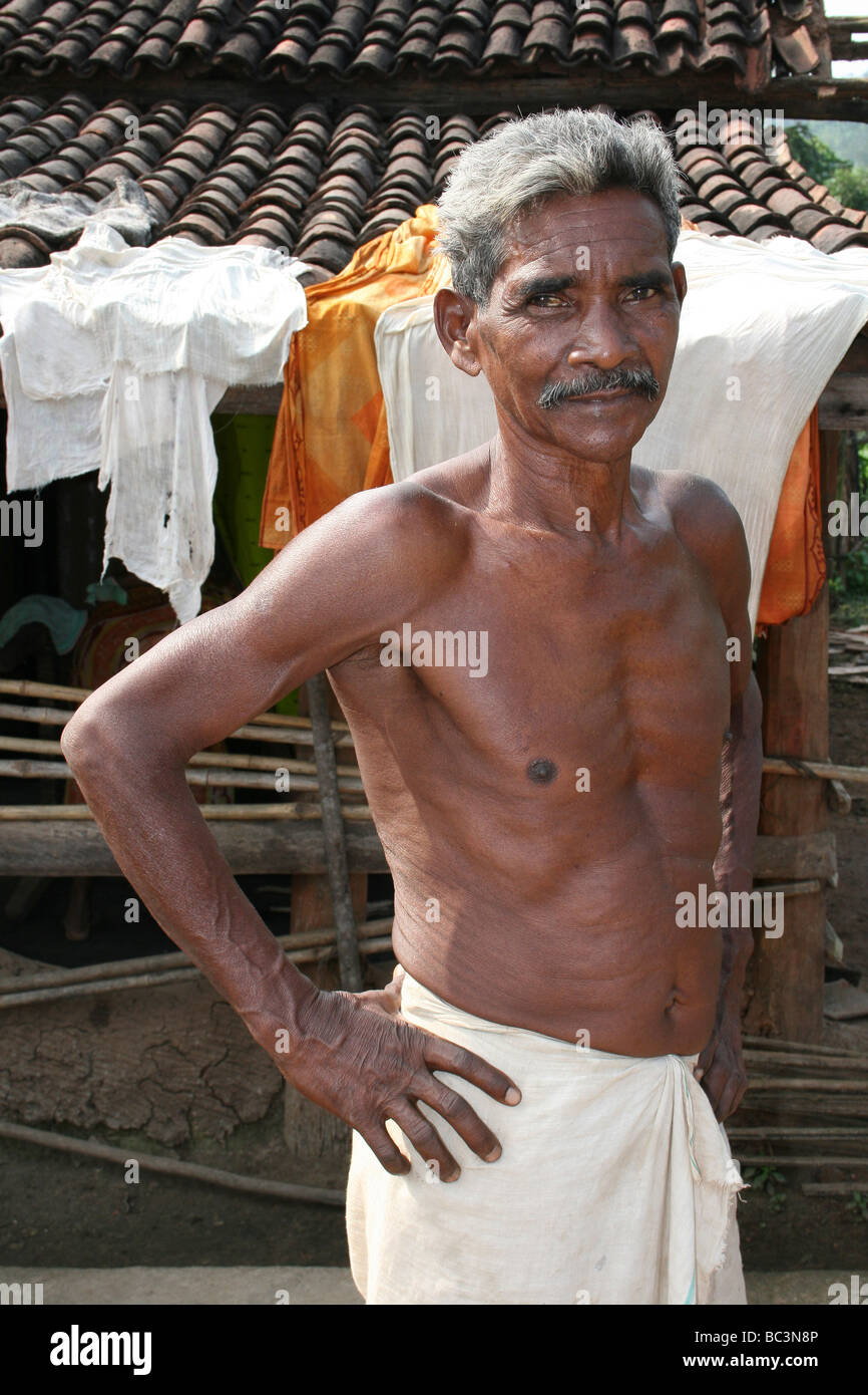 Elderly Man Of The Kutia Kondh Tribe, Orissa, India - Stock Image