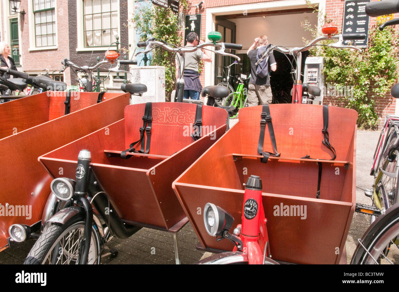 Bicycles With Wooden Box Child Seat In Front For Hire In Amsterdam