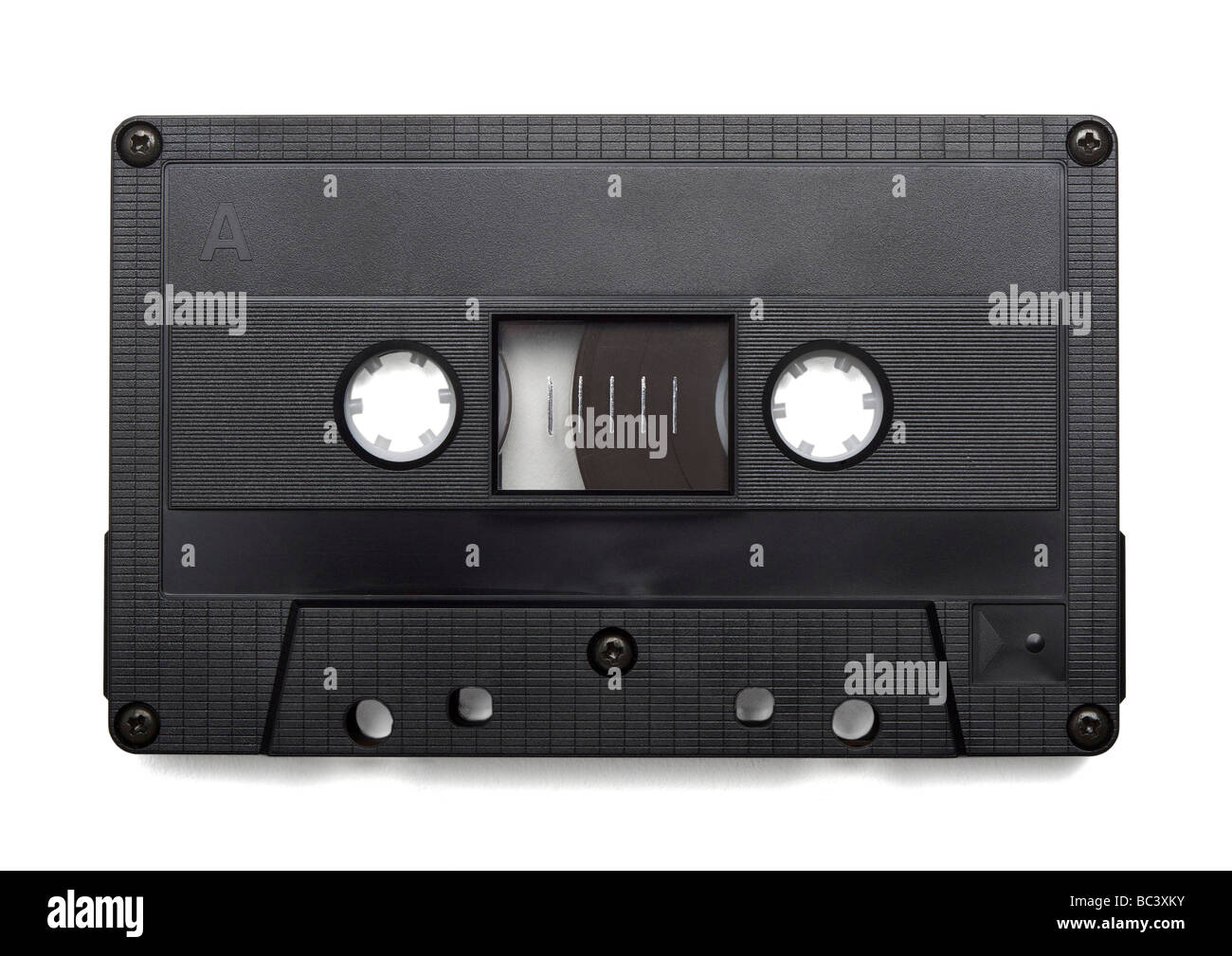 Audio cassette on white background - Stock Image