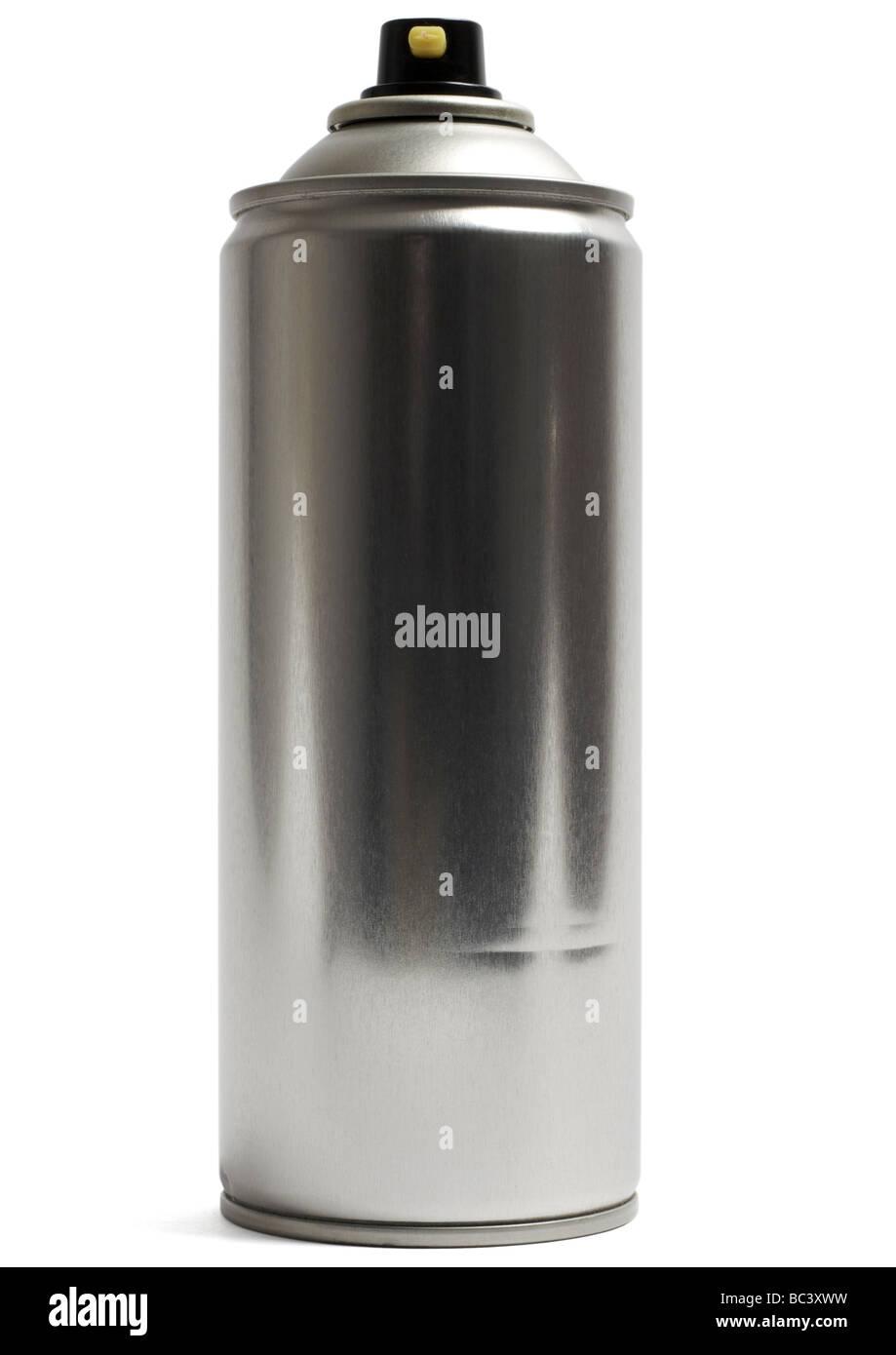 Aerosol spray can on white background - Stock Image