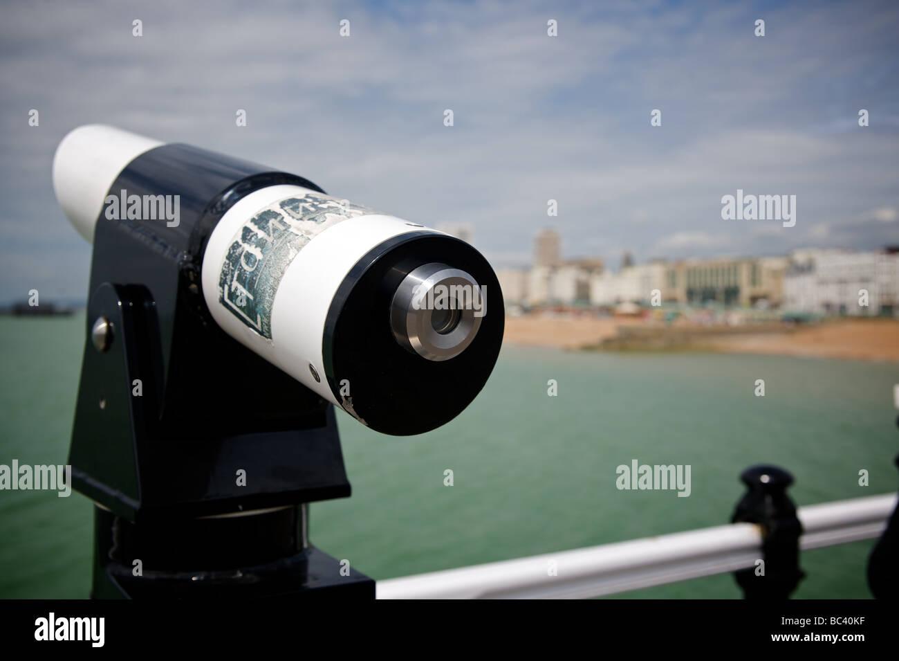 Telescope on Brighton Pier - Stock Image