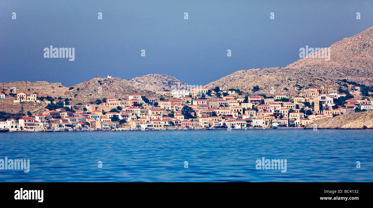 The island of Halki off the coast of Rhodes - Stock Image