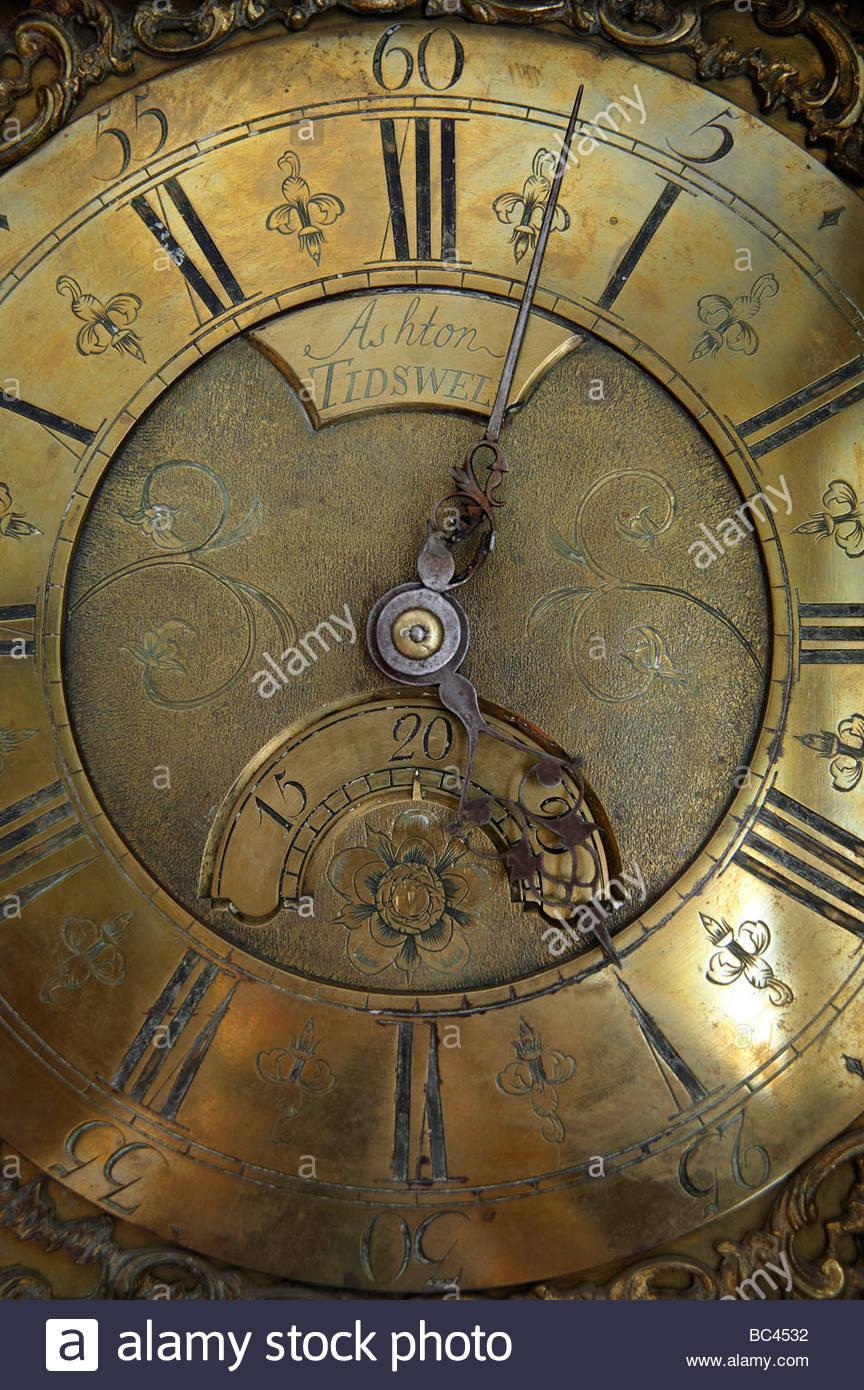 Antique Grandfather Clock face, UK - Stock Image
