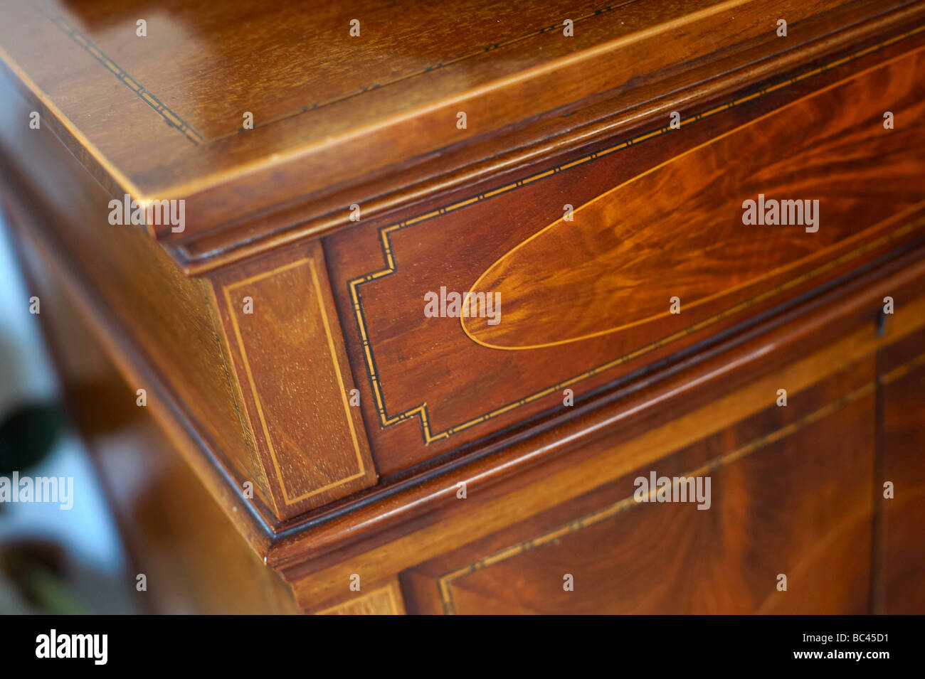 Antique Furniture detail, on cupboard type 78rpm record player, UK - Stock Image
