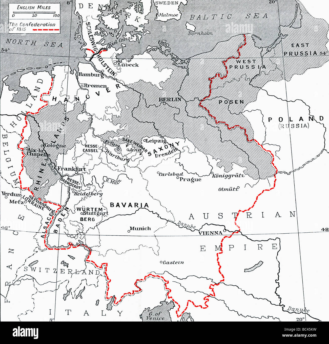 Map Of Germany 1815.Map Of Germany In 1815 From The Book Europe In The Nineteenth Stock