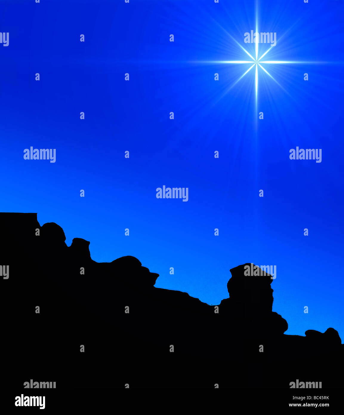 evening star over rocky desert terrain - Stock Image